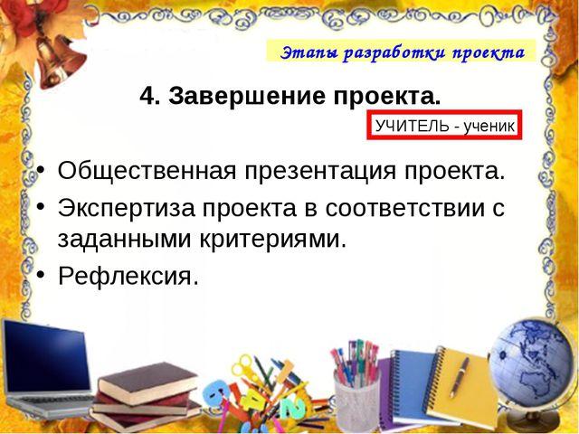 4. Завершение проекта. Общественная презентация проекта. Экспертиза проекта в...