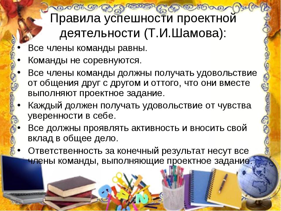 Правила успешности проектной деятельности (Т.И.Шамова): Все члены команды рав...
