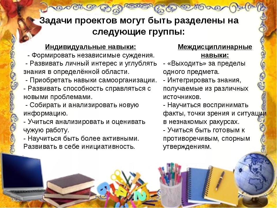 Задачи проектов могут быть разделены на следующие группы: Междисциплинарные н...