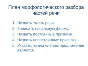 План морфологического разбора частей речи Назвать часть речи. Записать началь