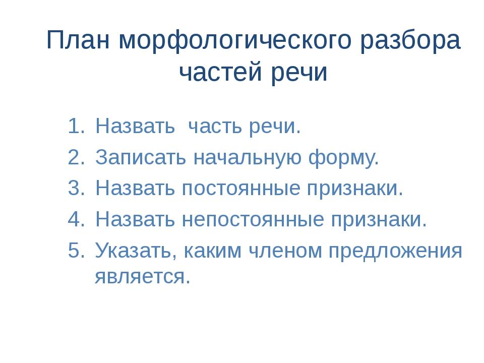 План морфологического разбора частей речи Назвать часть речи. Записать началь...