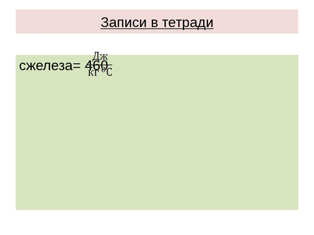 Записи в тетради сжелеза= 460