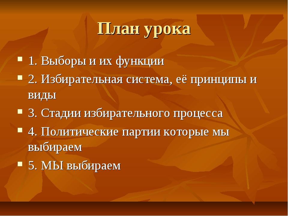 План урока 1. Выборы и их функции 2. Избирательная система, её принципы и вид...