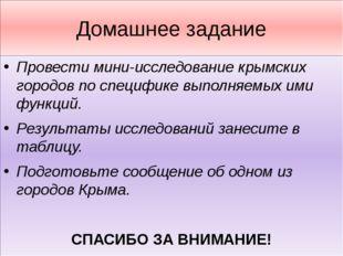 Домашнее задание Провести мини-исследование крымских городов по специфике вып