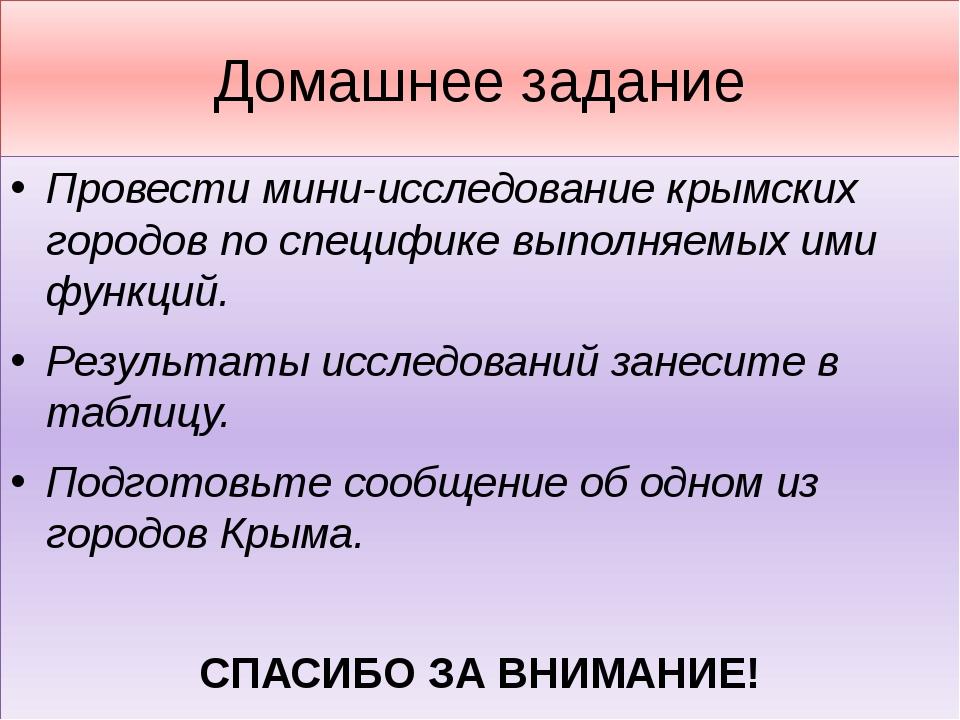 Домашнее задание Провести мини-исследование крымских городов по специфике вып...