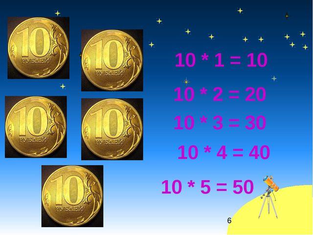 10 * 1 = 10 * 10 * 4 = 40 10 * 3 = 30 10 * 2 = 20 10 * 5 = 50