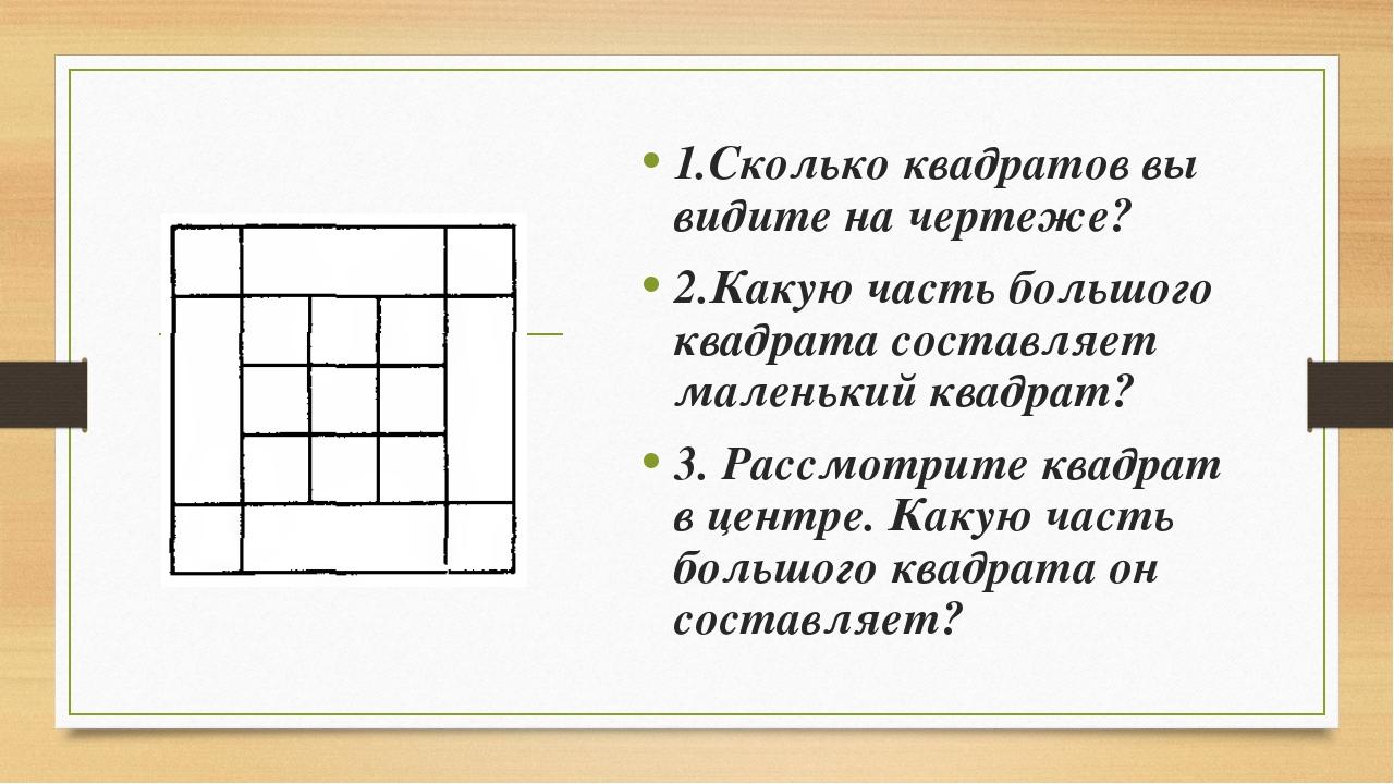 1.Сколько квадратов вы видите на чертеже? 2.Какую часть большого квадрата сос...