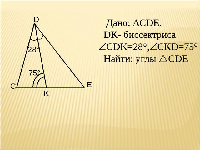 Дано: ΔCDE, DK- биссектриса CDK=28°,CKD=75° Найти: углы CDE