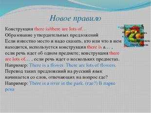 Новое правило Конструкция there is/there are lots of… Образование утвердитель