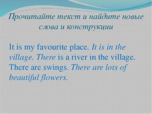 Прочитайте текст и найдите новые слова и конструкции It is my favourite place