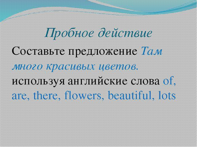 Пробное действие Составьте предложение Там много красивых цветов. используя а...