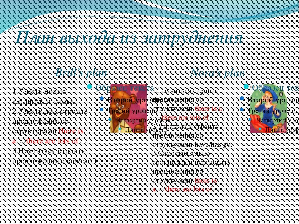 План выхода из затруднения Brill's plan Nora's plan 1.Узнать новые английские...