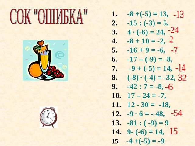 -8 +(-5) = 13, -15 : (-3) = 5, 4 · (-6) = 24, -8 + 10 = -2, -16 + 9 = -6, -1...