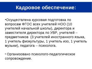 Кадровое обеспечение: Осуществлена курсовая подготовка по вопросам ФГОС всех