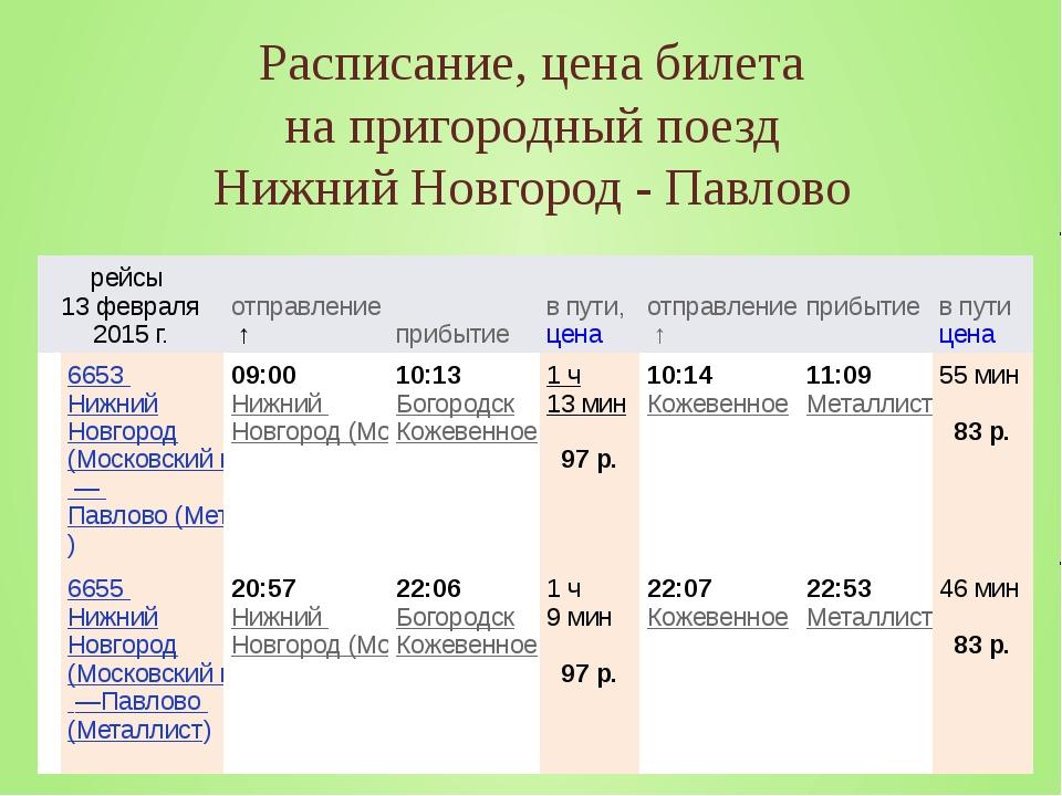 Расписание, цена билета на пригородный поезд Нижний Новгород - Павлово рейсы...