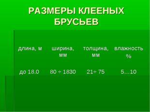 РАЗМЕРЫ КЛЕЕНЫХ БРУСЬЕВ длина, мширина, ммтолщина, ммвлажность % до 18.0