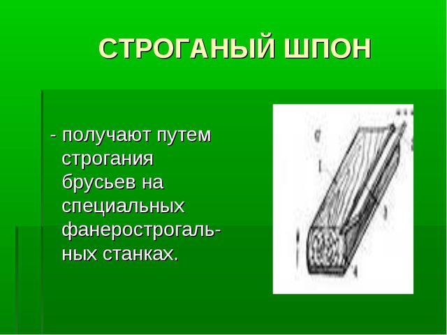 СТРОГАНЫЙ ШПОН - получают путем строгания брусьев на специальных фанерострог...