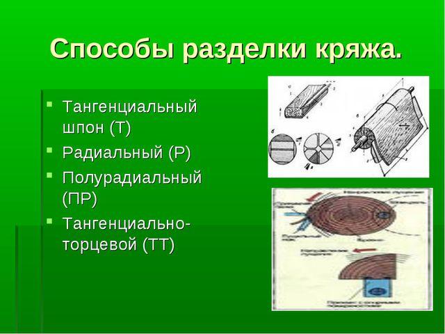 Способы разделки кряжа. Тангенциальный шпон (Т) Радиальный (Р) Полурадиальный...