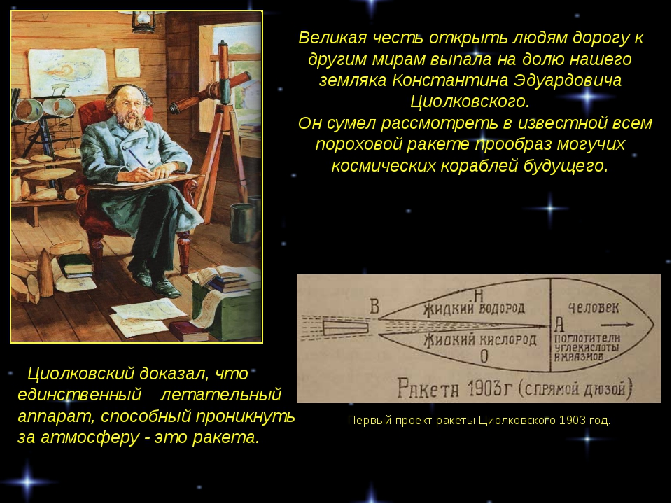 Первый проект ракеты Циолковского 1903 год. Циолковский доказал, что единстве...