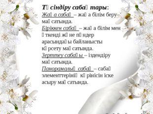 Сабақ түрлері және оның құрылымы Жумаева Фатима Айвасовна Түсіндіру сабақтары