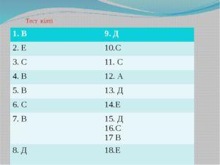 Тест кілті 1. В 9. Д 2. Е 10.С 3. С 11. С 4. В 12. А 5. В 13. Д 6. С 14.Е 7.