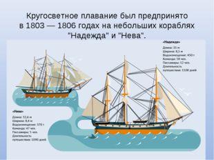 Кругосветное плавание был предпринято в1803— 1806 годах нанебольших корабл
