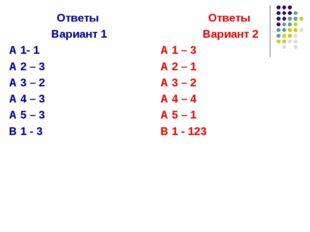 Ответы Вариант 1 А 1- 1 А 2 – 3 А 3 – 2 А 4 – 3 А 5 – 3 В 1 - 3 Ответы Вариан