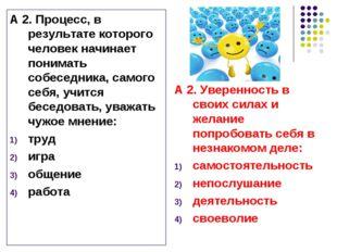 А 2. Процесс, в результате которого человек начинает понимать собеседника, са