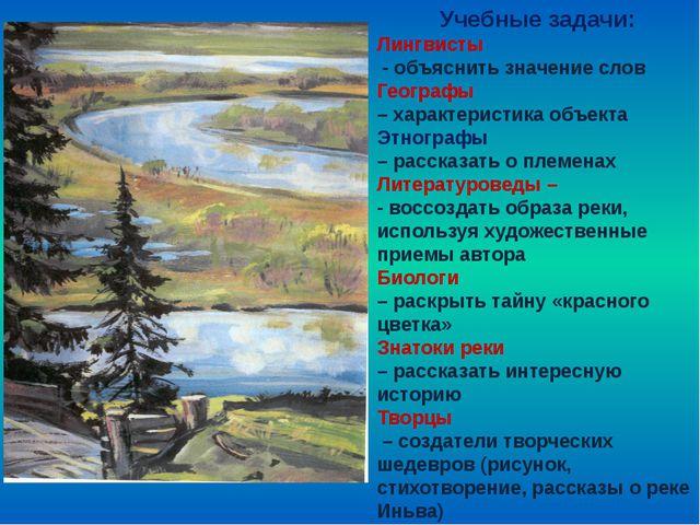 Учебные задачи: Лингвисты - объяснить значение слов Географы – характеристик...