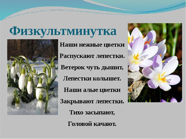 Физкультминутка Наши нежные цветки Распускают лепестки. Ветерок чуть дышит, Л...