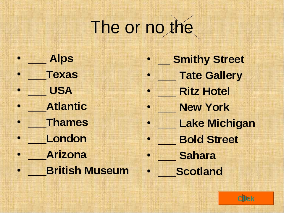 The or no the ___ Alps ___Texas ___ USA ___Atlantic ___Thames ___London ___Ar...