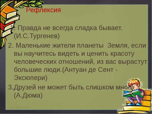 Рефлексия 1. Правда не всегда сладка бывает.(И.С.Тургенев) 2. Маленькие жите...