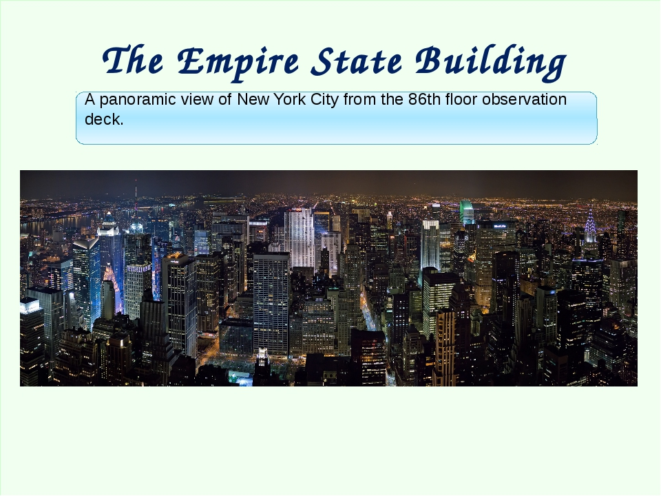 The Empire State Building A panoramic view of New York City from the 86th fl...