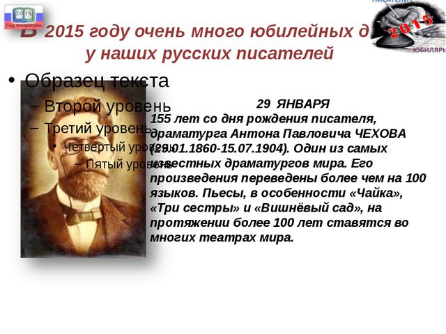 В 2015 году очень много юбилейных дат у наших русских писателей 29 ЯНВАРЯ 155...