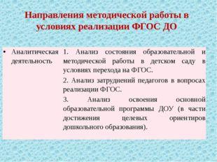 Направления методической работы в условиях реализации ФГОС ДО Аналитическая д