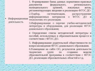 Информационная деятельность 1.Формирование банка данных нормативно-правовых