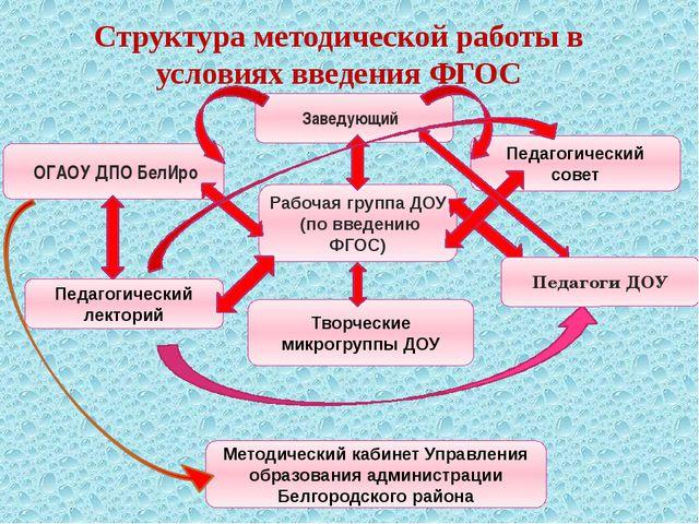 Структура методической работы в условиях введения ФГОС Заведующий ОГАОУ ДПО Б...