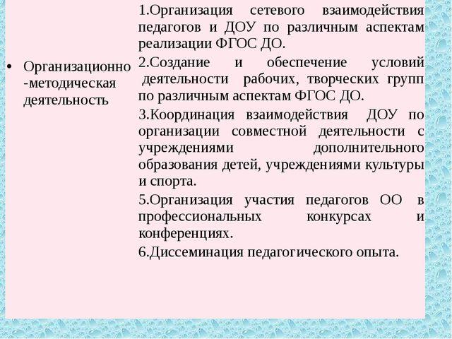 Организационно-методическая деятельность 1.Организация сетевого взаимодейств...