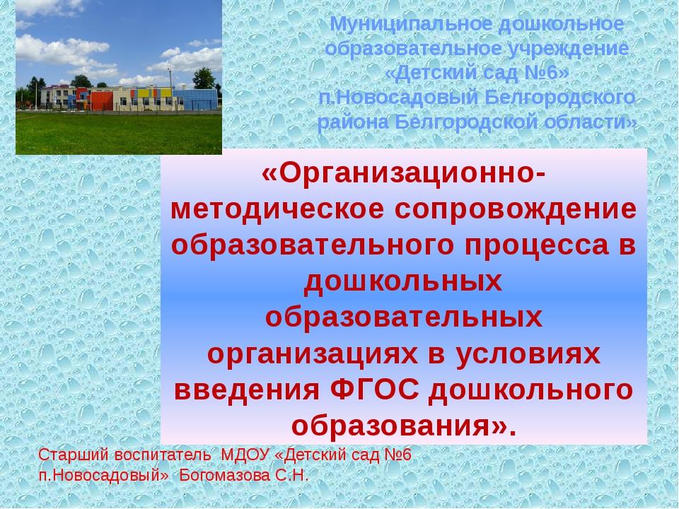 Муниципальное дошкольное образовательное учреждение «Детский сад №6» п.Новос...