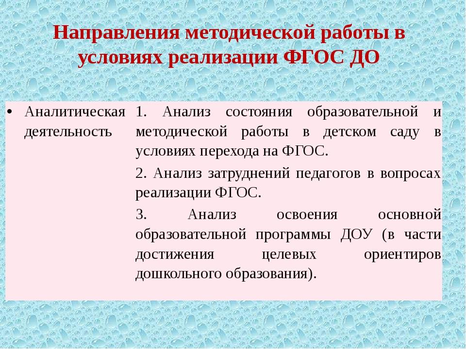 Направления методической работы в условиях реализации ФГОС ДО Аналитическая д...