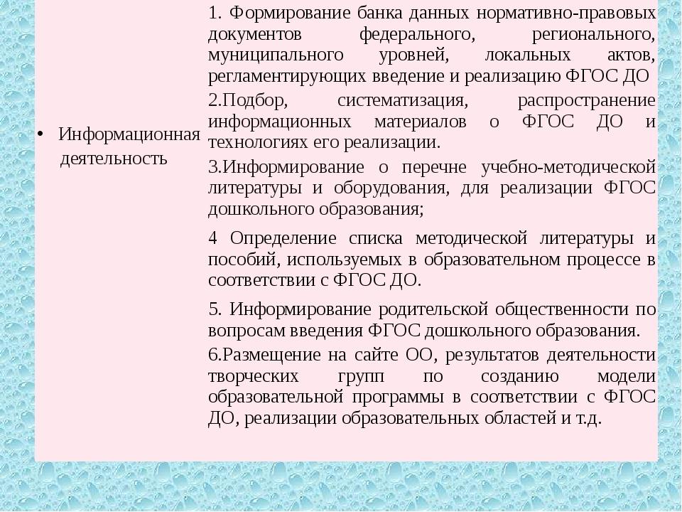 Информационная деятельность 1.Формирование банка данных нормативно-правовых...