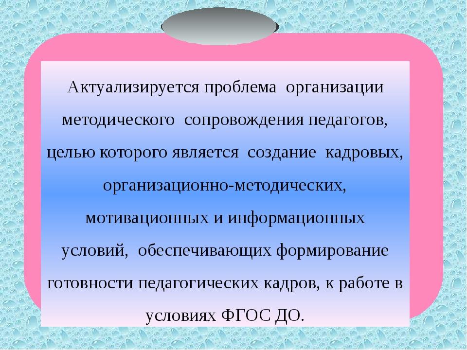 Актуализируется проблемаорганизации методическогосопровождения педагогов,...
