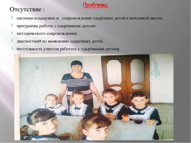 Проблема: Отсутствие : системы поддержки и сопровождения одарённых детей в на...