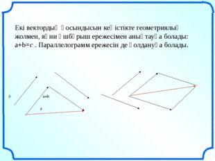 Екі вектордың қосындысын кеңістікте геометриялық жолмен, яғни үшбұрыш ережес