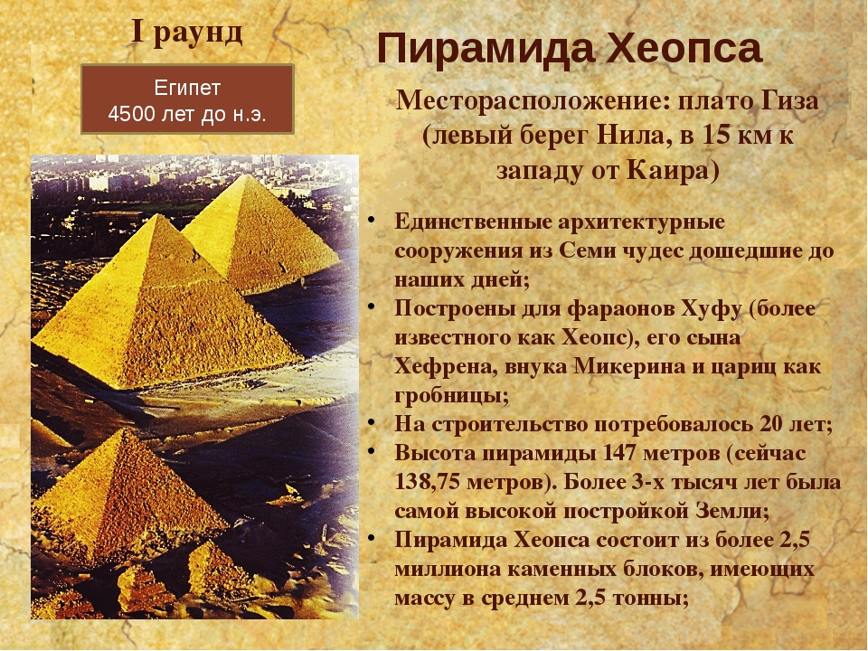 Египет 4500 лет до н.э. Пирамида Хеопса Месторасположение: плато Гиза (левый...