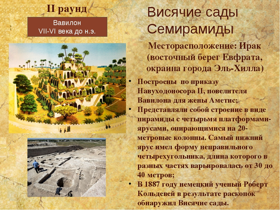Вавилон VII-VI века до н.э. Висячие сады Семирамиды II раунд Месторасположени...