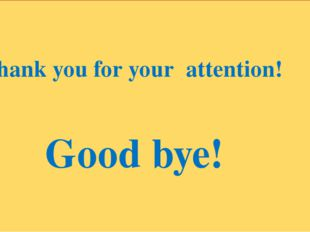 Thank you for your attention! Good bye!