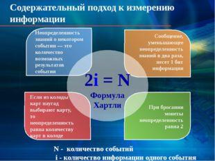 Содержательный подход к измерению информации Неопределенность знаний о некото