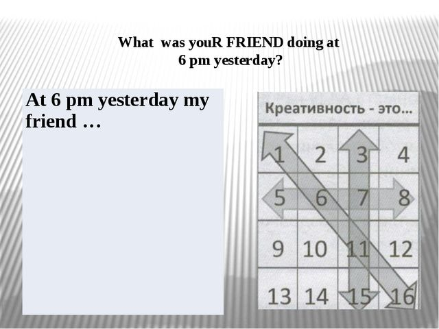 What was youR FRIEND doing at 6 pm yesterday? At 6 pm yesterday my friend …