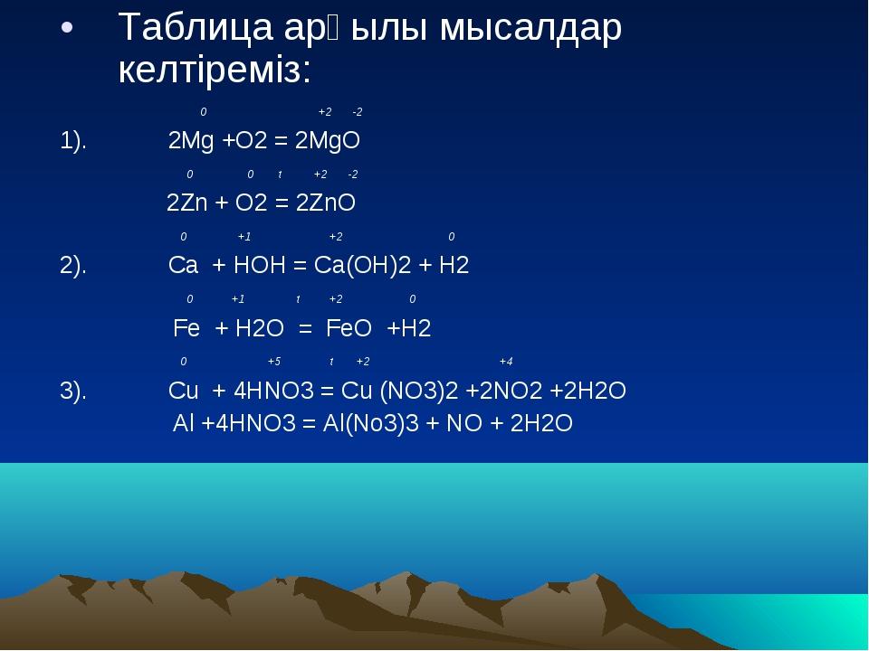 Таблица арқылы мысалдар келтіреміз: 0 +2 -2 1). 2Mg +O2 = 2MgO 0 0 t +2 -2 2Z...
